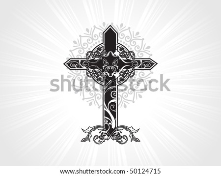 vector decorated christian cross with background - stock vector
