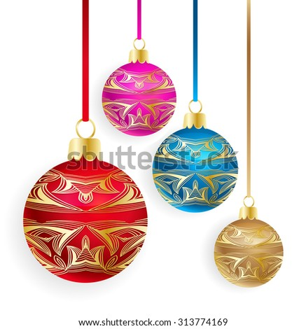 Vector decorated Christmas balls on white background