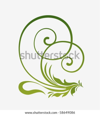 Vector decoration element. Green plant curve design - stock vector