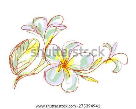 Vector Decorative background with beautiful blooming magnolia branch - stock vector