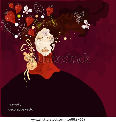 Vector decorative background with woman in art nouveau style - stock vector