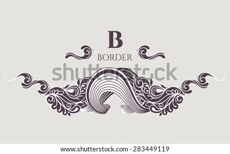Vector decorative border.  Hand-drawing  ornament. Decor for your design. Doodle.Graphic design page. - stock vector