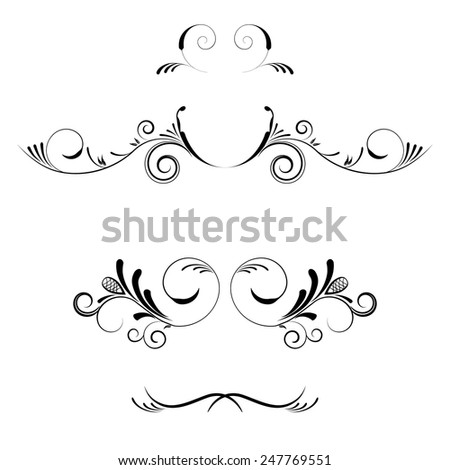 Vector decorative elements, borders and page decoration. - stock vector