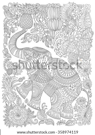 Vector decorative fantasy stylized ornate elephant silhouette. Zen tangle fantastic flowers, fruits, butterfly, leaves. Adults coloring book vertical page.Black and white T-shirt print. Batik paint - stock vector