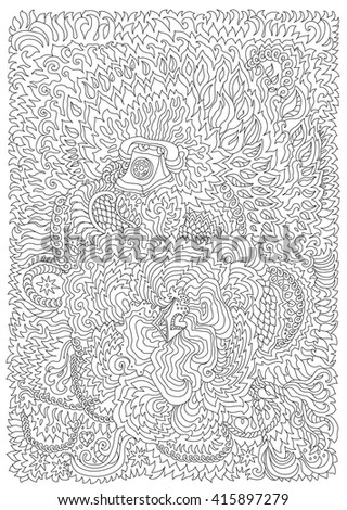 Vector decorative fantasy stylized retro telephone silhouette. Zen tangle. Hand drawn doodle sketch. Contour thin line, black and white. T-shirt print. Adults coloring book vertical page - stock vector