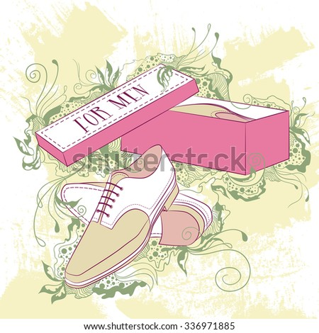 Vector decorative fashion illustration men's shoes, on grunge background with floral ornaments - stock vector
