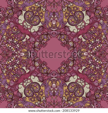 Vector decorative floral background, illustration with gorgeous ornamental frame.