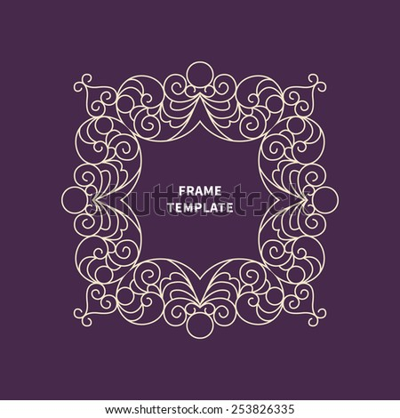 Vector decorative line art frame for design template. Elegant element for logo design, place for text. Light outline floral border. Lace illustration for invitations and greeting cards. - stock vector