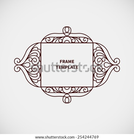 Vector decorative line art frame for design template. Elegant element for logo design, place for text. Black outline floral border. Lace illustration for invitations and greeting cards. - stock vector