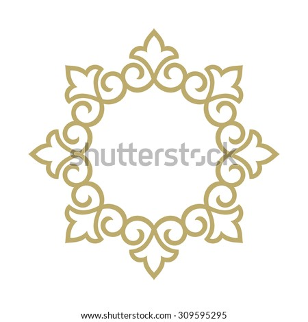 Vector decorative line art frames for design template. Elegant element for design in Eastern style, place for text. Golden outline floral border. Lace illustration for invitations and greeting cards - stock vector