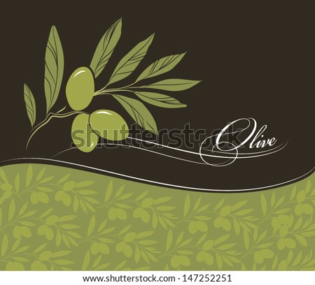 Vector decorative olive branch.For label, pack. - stock vector
