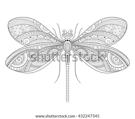 Vector Decorative Ornate Dragonfly. Monochrome Illustration of Exotic Insect. Patterned Design Element - stock vector