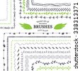 Vector Decorative Scribble Paintbrushes with Inner and Outer Corners. Hand Drawn Ink Brushes. Seamless Whimsical Borders for Patterned Frames. - stock vector