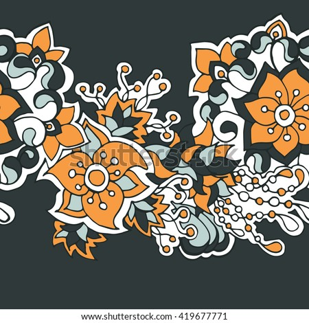 Vector decorative seamless hand-drawn pattern with flower border in doodle style. Bright ethnic floral design in pumpkin orange and gray shades. - stock vector