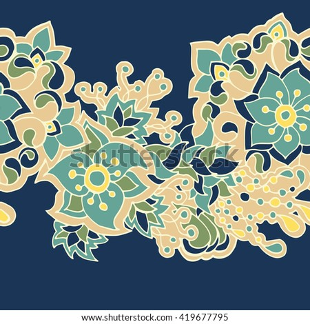 Vector decorative seamless hand-drawn pattern with flower border in doodle style. Bright ethnic floral design on deep blue background. - stock vector