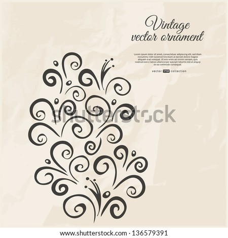 Vector decorative swirls. Grey card