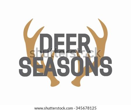 Vector deer antler logo - stock vector