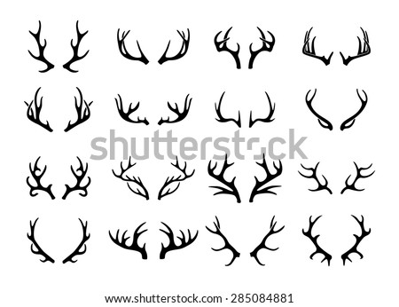 Vector deer antlers black icons set - stock vector