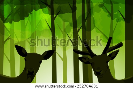 Vector Deers in Bright Green Forest, Eps 10, Gradient Mesh and Transparency Used - stock vector