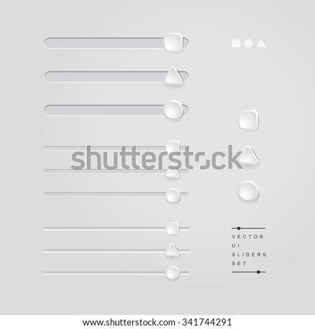 vector delicate UI elements, sliders, volume controls / for websites, blogs or applications / square + triangle + circle / on grey white background - stock vector