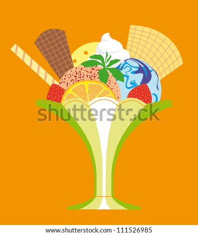 Vector Delicious Colorful Ice-cream Sundae with Fruit and Biscuits - stock vector