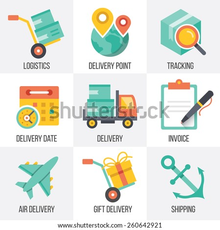 Vector delivery and logistics icons set. Flat design illustrations. Isolated on white background. Set 8.  - stock vector