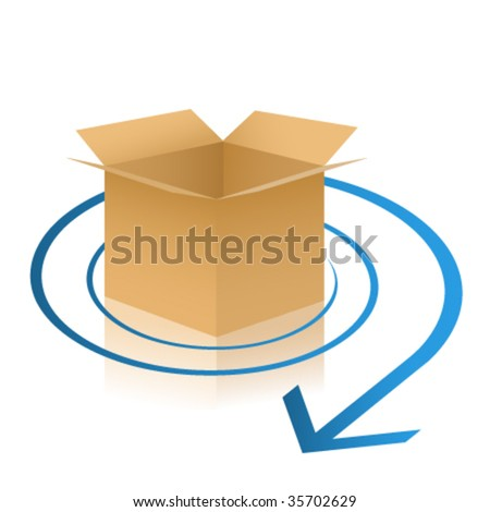vector delivery box illustration - stock vector