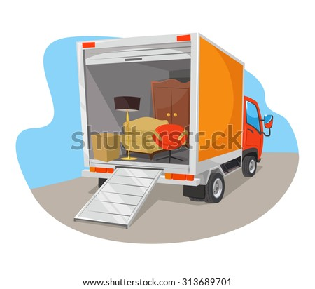 Vector delivery car flat illustration - stock vector