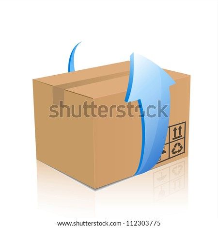 vector delivery cardboard box with blue arrow