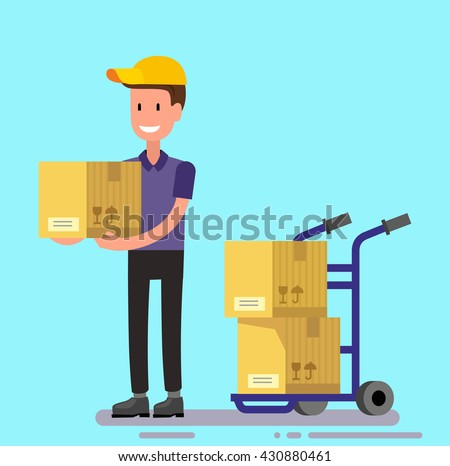 vector delivery man unload delivery car boxes - stock vector