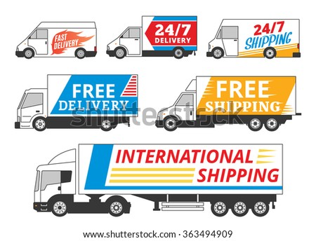 Vector delivery service labels. Commercial vehicles and delivery cars with sample text. Delivery cars icons collection for delivery and transportation company.