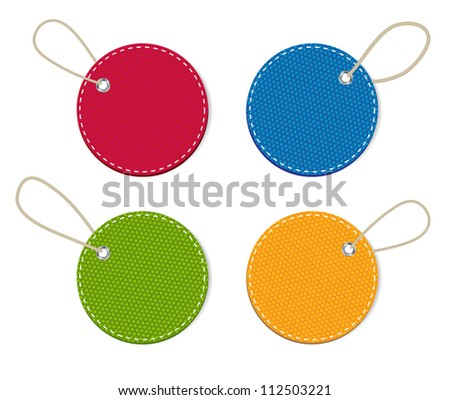 Vector denim fabric round colorful  badges set with straps - stock vector