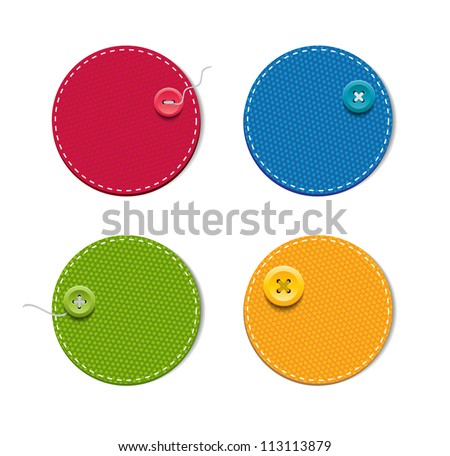 Vector denim fabric round colorful badges with buttons - stock vector
