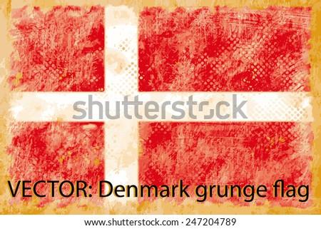 VECTOR: Denmark grunge flag on the vintage paper using  for background - stock vector
