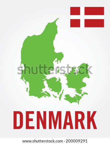 Vector Denmark Map and Flag Set - stock vector