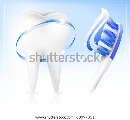 Vector. Dental concept. White tooth with toothbrush - stock vector