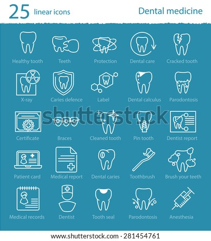 Vector dental medicine thin line icons set for web design, application or infographics - stock vector