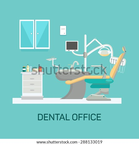 Vector dental office with seat and equipment tools. Medical arm-chair illustration - stock vector