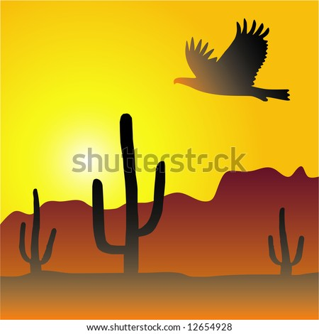 Vector desert scene at sunset with cactus and eagle. Colors are easily editable - stock vector