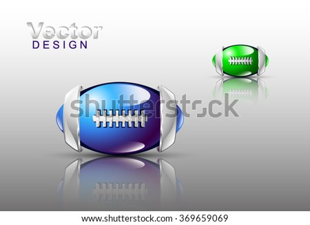Vector design. Abstract balls of football with silver elements on the glossy field. Blue and green tones. Eps 10.