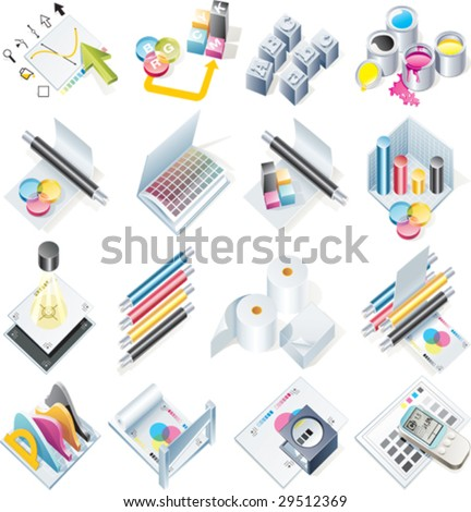 Vector design and print service icon set - stock vector