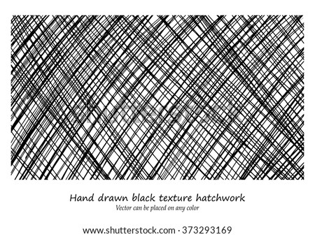 vector design background pattern, hand drawn diagonal hatchwork lines that criss cross in cool artsy textured black background design, can be changed to any color, and placed on any color - stock vector