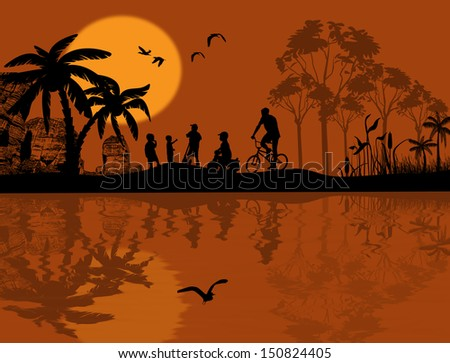 Vector design background with beautiful landscape and children silhouette with reflection on water - stock vector