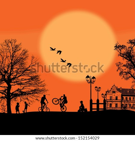 Vector design background with beautiful landscape and childrens silhouettes - stock vector