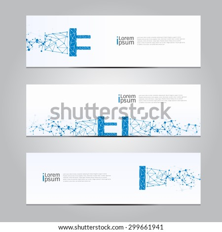 Vector design Banner technology,plug connection,electricity background. illustration EPS10 - stock vector