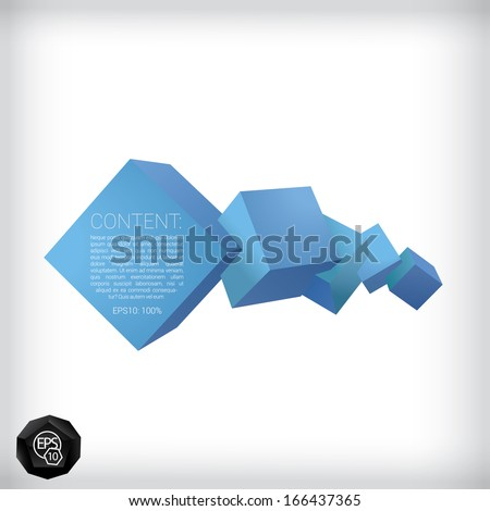Vector design. Blue edition of a 3d abstract geometric scalable eps10 composition of  horizontal aligned cubes in a clean white space for infographics, webdesign, infographics or for brochure print  - stock vector