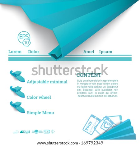 Vector design. Blue edition of an abstract 3d origami ornament decorated website template layout composition, can be used for infographics, touch screen, website,  brochure or other medium. - stock vector