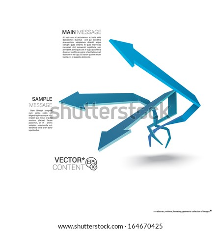 Vector design. Blue edition of  scalable eps10 illustration of a geometric abstract levitating arrow composition in 3d space for destinations & infographics & web site & brochure or menu navigation - stock vector