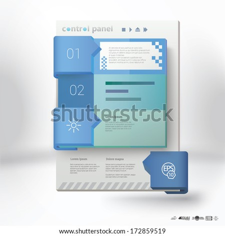 Vector design. Blue vertical A4 edition of a handheld application or web site template with text box, infographics interface elements, suitable for printed brochure, presentation graphics element. - stock vector