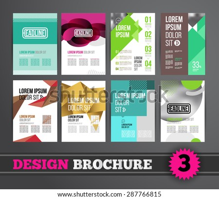 Vector design brochure template for business flyer or presentation. Trend design mega set. - stock vector